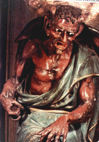 A well-known sculpture of a devil published in The Unexplained.