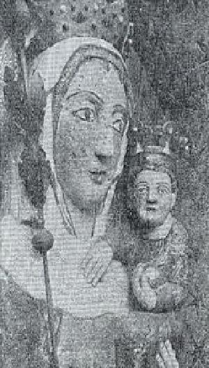 Fig. #C2a: An old photo of the face close-up of 8 meters tall stucco statue of Virgin Mary from the Malbork Castle.